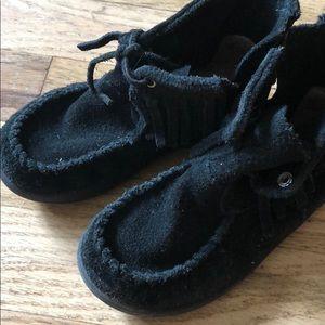Ugg Australia girls black moccasins size 8